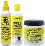 Jamacican Mango & Lime No More Itch Grow Spray 8oz con Tingle Shampoo 8oz y Locking Firm Wax 6oz