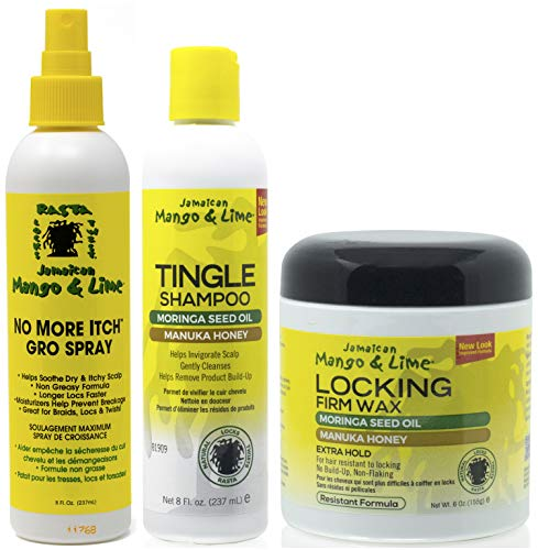 Jamacican Mango & Limette Kein Juckreiz mehr Wachsen Spray 8oz mit Tingle Shampoo 8oz & Locking Firm Wax 6oz