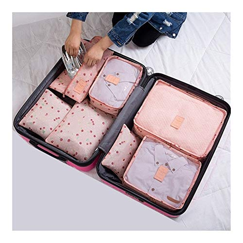SSLHDDL Travel Organizer Storage Bags Portable Luggage Organizer Clothes Tidy Pouch Suitcase Packing Set (Color : Pink cherry)