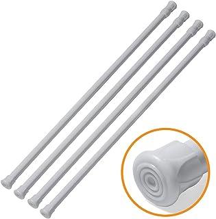 Joseche - Juego de 4 barras de resorte ajustables para armario, barra de frigorífico blanca extensible para proyectos de bricolaje, de 21,59 a 111,92 cm, blanco