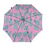 Diseño automático ligero compacto portátil del paraguas del viaje de la hoja verde tropical y alta resistencia al viento