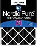 Nordic Pure 17x22x1 MERV 8 Pure Carbon Pleated Odor Reduction AC Furnace Air Filters 1 Pack