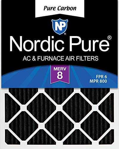 Nordic Pure 16x25x1 Pure Carbon Pleated Odor Reduction AC Furnace Air Filters, 16x25x1PCP-2, 2 Piece