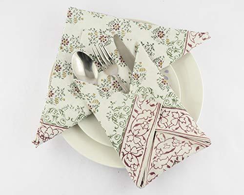 Ridhi - Servilletas impresas de algodón puro hecho a mano, 4 servilletas de tamaño 50,8 x 50,8 cm, bandana, decoración de mesa de boda, regalos personalizados, regalo de cumpleaños para ella