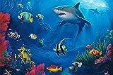 GenericBrands Pintar por Numeros Adultos Niños Tiburon en el mar DIY Pintura por Números con Pinceles y Pinturas-16 * 20 Pulgadas, Sin Marco