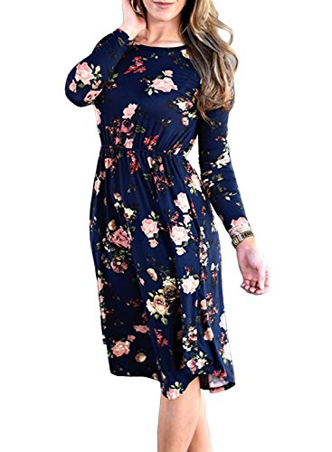ZESICA Women's Long Sleeve Floral Pockets Casual Swing Pleated T-shirt Dress,XX-Large,Navy Navy XX-Large