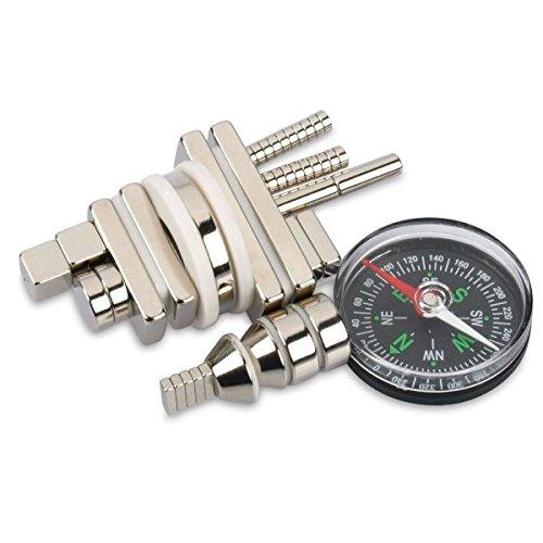 MEGA-Sortiment starker Magnete mit Kompass - 48 Teile, Neodym Magnete die stärksten Magnete der Welt, Supermagnete