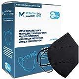 20 Mascarillas FFP2/KN95 Negras Homologadas de Certificación CE sin Válvula de 4 Capas,...