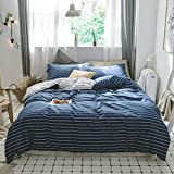 AMWAN Cotton Striped Queen Duvet Cover Set Full Bedding Hotel Comforter Cover Set Modern Soft Men Boys Bedding Collection Blue White Striped Duvet Quilt Cover Set Geometric Bedding Set Queen