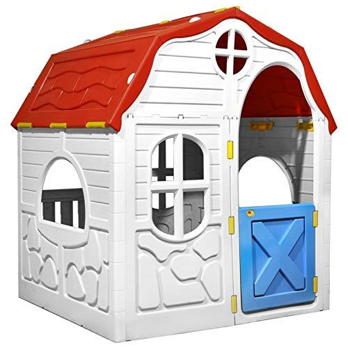 Tidyard Faltbares Kinderspielhaus Spielhaus Gartenhaus mit Schließbarer Tür und Fenstern für Indoor & Outdoor Garten Kinderzimmer mit Abschließbare Tür & Fenster,Geschenke Geeignet für Kinder