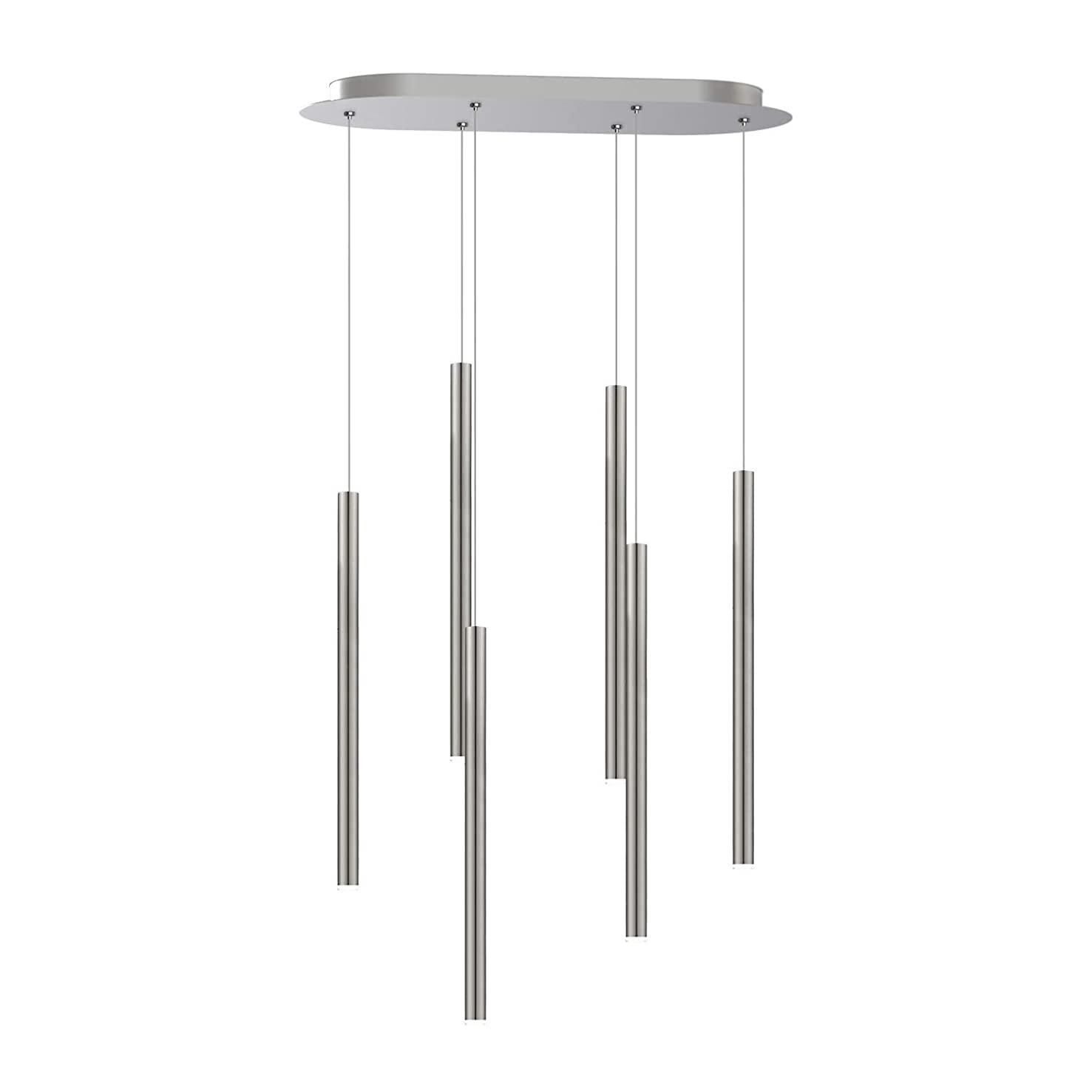 6 Pendant Lighting nickel - LED Hanging Light Fixture for Kitchen Island, Bar, Foyer - Equilateral Cluster of Mini Metal Rod pipe Tube Cylinders - Dimmable, Adjustable Wire, Lamp Bulb Included