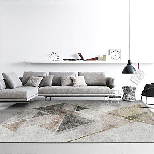 Kunsen La Alfombra Diseño Moderno Grande Alfombra Alfombra de Sala de Estar con patrón de triángulo geométrico de Tinta marrón Gris Negro Resistente a Las Manchas Suelo Alfombra 60 * 160cm