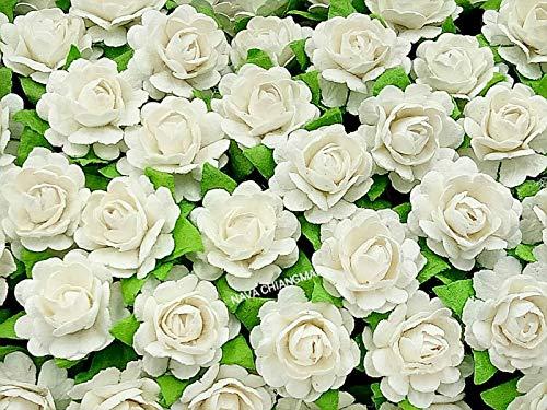 NAVA CHIANGMAI Beautiful Artificial Mulberry Paper Rose Flower (Heart Petals Rose) Wedding Card Embellishment, Scrapbooking Wedding Doll House Supplies Card,DIY Flower Accessories. (White)