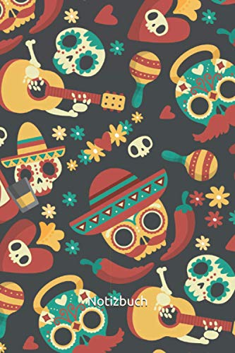 Notizbuch: Mexiko Notizbuch | 6x9 Zoll DIN A5 | 100 Seiten liniert | Totenkopf Notizheft | Mexiko Muster Tagebuch | Gitarre Notebook