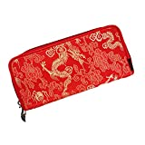 OEENOC Creative Silk Brocade and Satin Wallet Innovation Chinese Style (Red Dragon)