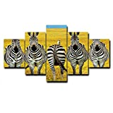 N / A Autumn Zebra Family Modern Poster Retro Canvas Oil Painting Home Decoration Abstract Wall Art Frameless 15x40 CM