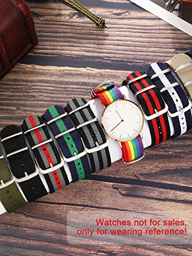 10 Pieces Nylon Watch Band Watch Straps Replacement with Stainless Steel Buckle for Men and Women's Watch Band Replacing, 18 mm (Classic Colors)