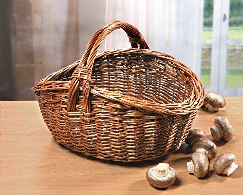 Einkaufskorb aus Vollweide, natur, 40x32 cm, Bügelkorb, Tragekorb, Autokorb