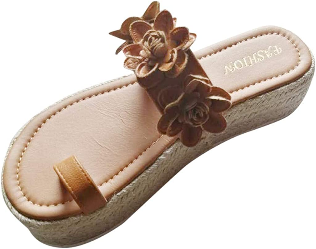 Summer Women's Platform Slide Sandal, Casual Open Toe Flower Carving Slip-On Clip Toe Espadrilles Flip Flop TRENDINAO