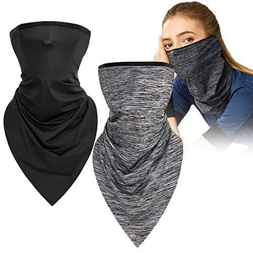 Foulard di protezione solare,Sciarpa per Il Collo con Cappuccio per Protezione Solare,sciarpa di seta di ghiaccio multiuso Maschera di protezione UV Sciarpa di testa magica Copricapo, unisex-2pcs