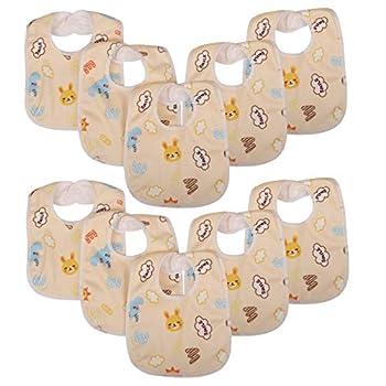 Zeltababy 10 Pack Waterproof Dribble Bib Snap Button Velvet Fabric  Yellow