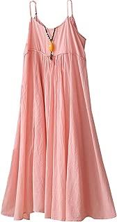 Minibee Women's Cotton Linen Dress Sleeveless Casual Long Skirt