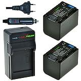 Chili Power NP-FV70Kit: 2x Batería + Cargador para Sony DCR-SR68, DCR-SR88, SX45de  SX85, FDR PT-AX100, HDR-CX110de  CX900, HC9, PJ10de  PJ810, TD10de  TD30V, XR160de  XR550V AC-L20, de nx3d1u, nx30u, NX70U, NEX-VG10de  VG900