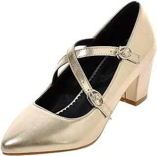 ELEEMEE Women Fashion Block Heel Pumps