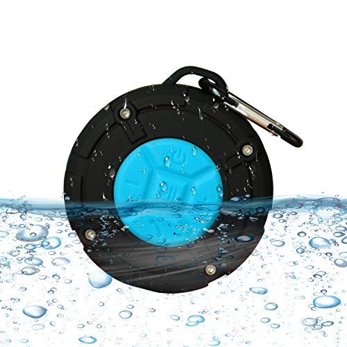 Altavoz Bluetooth portátil, IPX7 impermeable, altavoz estéreo Bluetooth 5.0 HD con ventosa y mosquetón, apto para la natación, la natación, la escalada y las actividades al aire libre