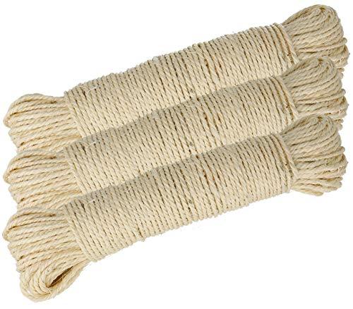 Lantelme Sisalseil 30 bis 150 Meter Naturprodukt Sisal für Katzen Kratzbaum Seil zur Reparatur der Säulen Katzenkratzbaum (150 Meter)