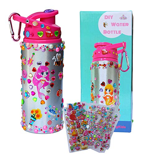Decorate Your Own Water Bottle for Girls with Rhinestone Glitter Gem and Stickers- Girls Toys DIY Arts and Crafts kit for Children Age 4 5 6 7 8 9 10 Years Old, Reusable 20 Oz BPA Free