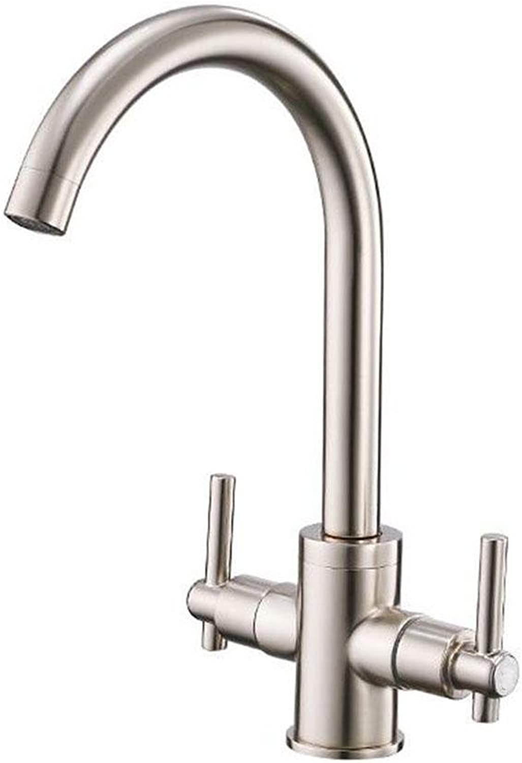 Double Handle Kitchen Faucet Chrome Brushed Kitchen Sink Hot and cold mixed water Tap