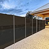 Patio Outdoor Privacy Screen Pool Fence for Inground Pools Deck Backyard Outdoor Safety Fence Barrier with Fence Poles Removable Fencing 6'x16'Brown