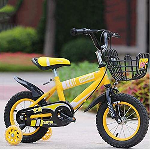 Kind Fahrrad Knaben Kids Bike Grün Blau Rot Gelb 12 Zoll, 14 Zoll, 16 Zoll, 18 Zoll für Neugeborene (Farbe  Grün, Größe  18 cm) - gelb, 18 Zoll