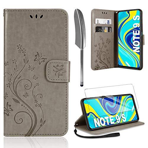 AROYI Lederhülle Kompatibel mit Xiaomi Redmi Note 9S/Note 9 Pro/Note 9 Pro Max Hülle & Schutzfolie, Flip Wallet Handyhülle PU Leder Tasche Hülle Kartensteckplätzen Schutzhülle Grau