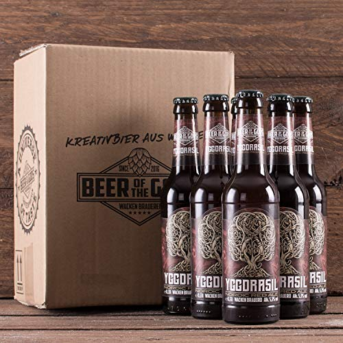 WACKEN BRAUEREI Red Ale Craft Beer Box 6 x 0,33 l Flasche | YGGDRASIL | Viking Craftbeer Set Gift for Men | Wikinger Kraft Bier Geschenk für Männer | Party Festival Heavy Metal