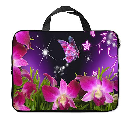 Britimes Laptop Sleeve Case Protection Bag Waterproof Neoprene PC Cover Water Resistant Notebook Handle Carrying Computer Protector Butterfly Flower 14 15 15.6 inches