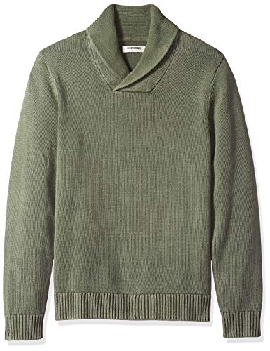 Amazon Brand - Goodthreads Men's Soft Cotton Shawl Collar Sweater, Washed Olive, Medium Tall