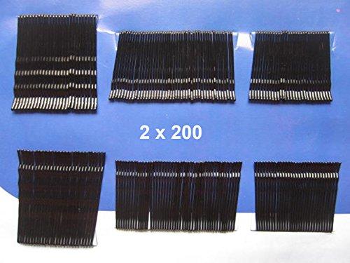 Yycraft Lot de pinces à cheveux invisible Flat Top Bobby pins Grips Salon-black 400 Black