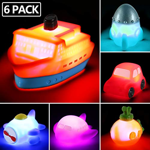 6 packs Light up Boat Bath Toy Set, Flashing Color Changing Light in Water, Floating Rubber Bathtub Toys for Baby Toddler Infant Tub Play, Boy Girl Kid Growing Pal in Shower Bathroom or swimming pool