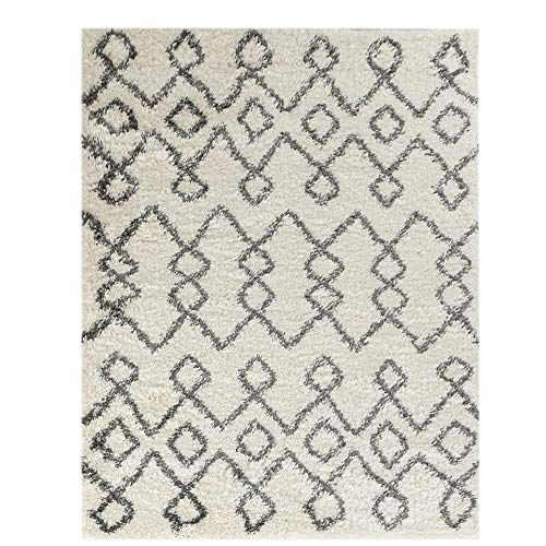 Wyatt & Ash Ivory/Charcoal 3.25 ft. x 5 ft. Tribal Stripes Shag Area Rug