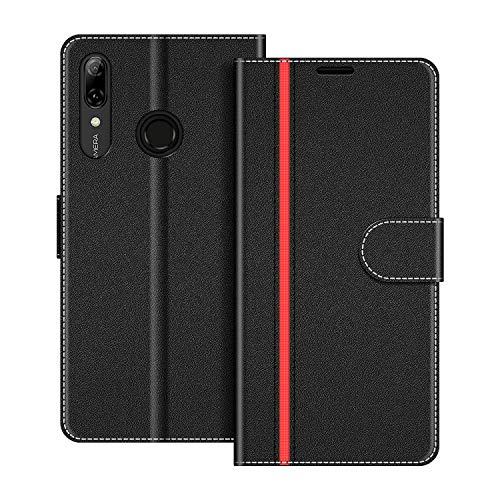 COODIO Handyhülle für Huawei P Smart 2019 6,21 Zoll Handy Hülle, Honor 10 Lite Hülle Leder Handytasche für Huawei P Smart 2019 / Honor 10 Lite Klapphülle Tasche, Schwarz/Rot