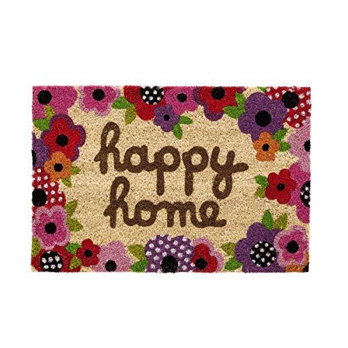 Felpudo para Puerta Entrada Antideslizante para Entrada de Fibra de Coco 100% Natural- Happy Home 40x60 cm