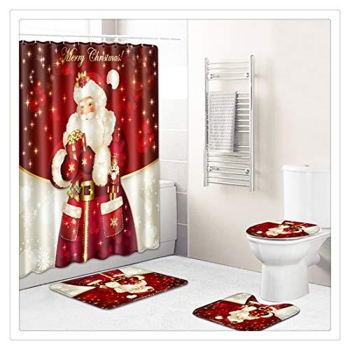 Xiaojie Yuzhijie - Cortina de ducha con estampado navideño (4 piezas, decoración navideña), diseño B