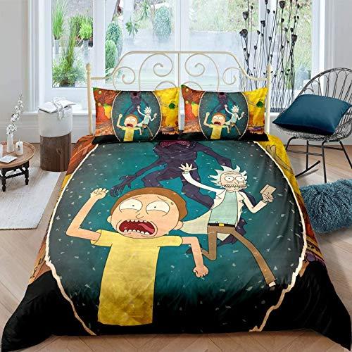 NBAOBAO Rick and Morty Duvet Cover Set, Luxury Microfibre Duvet Cover, 2 Pillowcases 80 x 80 cm (Rick 2.135 x 200 cm + 80 x 80 cm x 2)