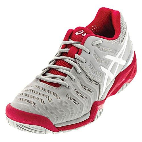 ASICS Womens Gel-Resolution 7 Tennis Shoe, Glacier Grey/White/Rouge Red, 6 Medium US