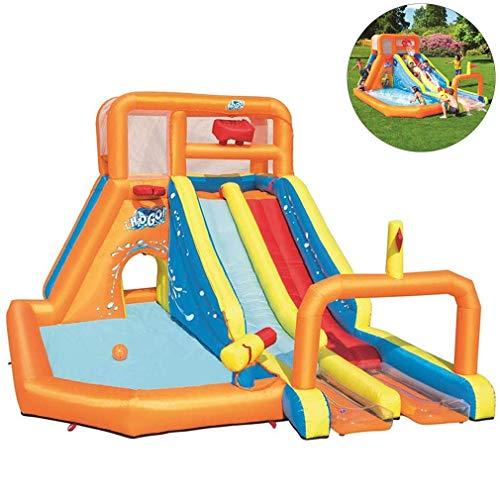 NMDD Castillos hinchables Gorilas inflables Juguetes acuáticos inflables para niños Tobogán acuático Zona de Juegos con Piscina para Escalar y soplador de Aire, 505 * 340 * 265 cm