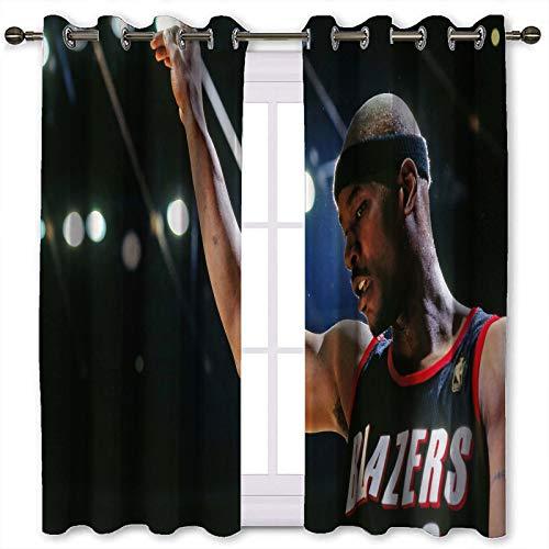 SSKJTC Kurze Verdunkelungsvorhänge Cliff Robinson Basketball Boy Basketball Spieler hübsch Innenfenster Vorhang (B 140 x L 160 cm)