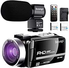 Video Camera Camcorder with Power Microphone, 1080P 30FPS...