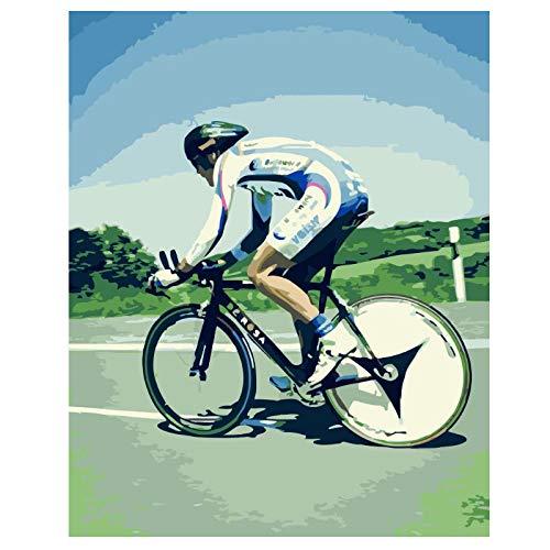 Wxswz Rennradfahrer Figur DIY Gemälde Nach Zahlen Wandkunst Bild Acrylmalerei Für Die Inneneinrichtung 40X50Cm Ohne Rahmen